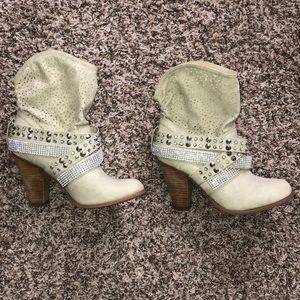 Rhinestone heeled boots